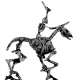 Skeletal horse and rider, with horse & musket weapons