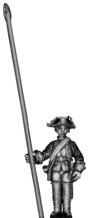 1756-63 Saxon Musketeer standard bearer, at attention