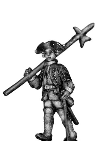 1756-63 Saxon Musketeer sergeant, marching with halberd