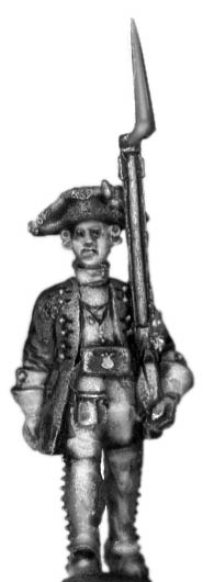 1756-63 Saxon Fusilier officer, marching with musket