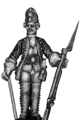 1756-63 Saxon Fusilier sergeant, at attention with musket