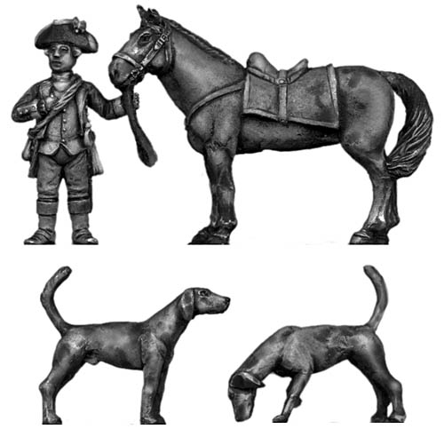 George Washington with horse and dogs