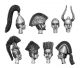 Strip of 4 helmets and heads