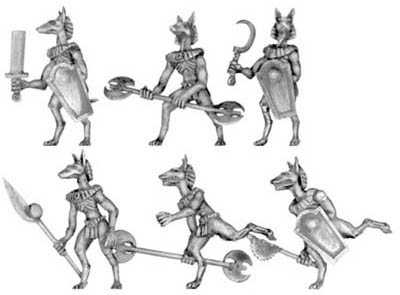 Anubis jackal warrior with hand weapons