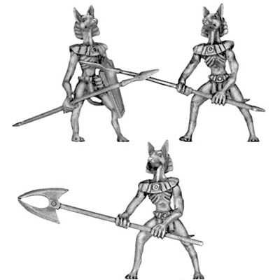Anubis jackal warrior with pole arms
