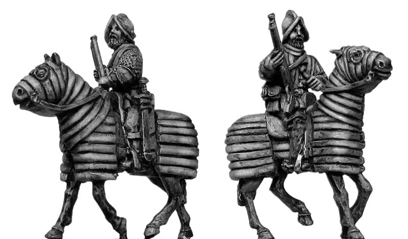 Mounted Arquebusier on barded horse