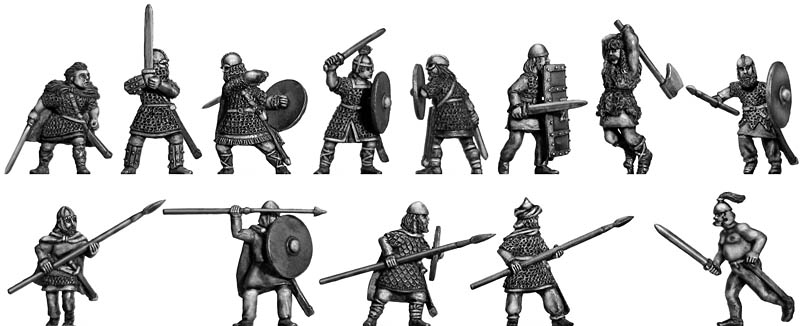 Beowulf and retinue: action poses