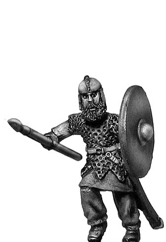 Geat thegn, Late Roman cavalry helmet, spear and shield: action