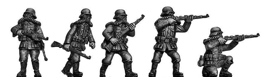 Stormtroopers in gasmasks with rifles