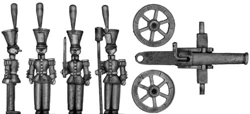 Toy Town Soldier Artillery piece and four crew