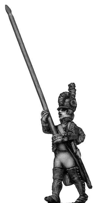 Standard bearer, casque, regulation uniform, marching