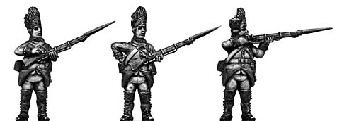 Austrian Grenadier, firing and loading, bearskin