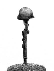 German infantry helmet on rifle