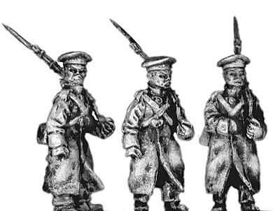 Russian infantry in greatcoat and cap, marching