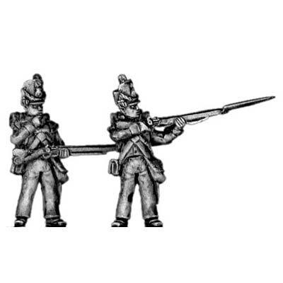 Flank company, firing and loading, shako cords and plume