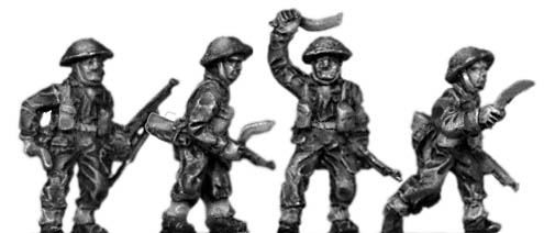 Gurkha infantry with No1 Mk4 rifle khukri drawn in helmet