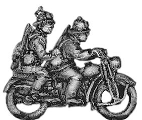 Bersaglieri on motorcycle with pillion passenger