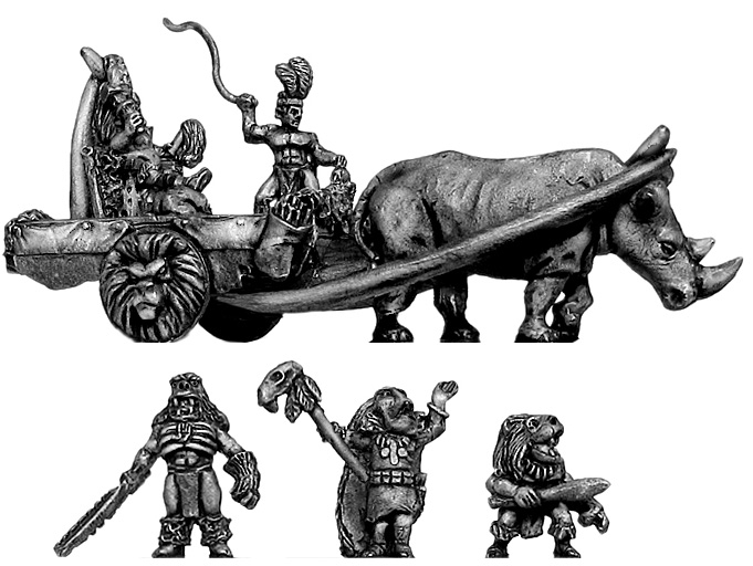 Heroes x 4, Shaman x 2, Rhino Chariot with King and driver