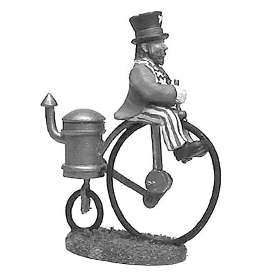 American Rail Baron on steam powered penny-farthing