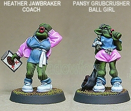 Gridiron Orc Team Coach And Ball Girl